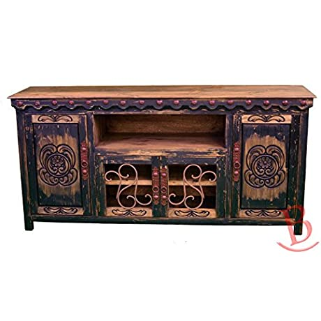 Black Junior Durango TV Stand Console With Iron Work Entertainment Center Rustic Western