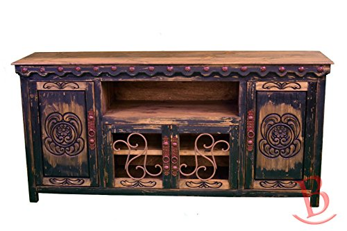 Cheap Black Junior Durango TV Stand Console With Iron Work Entertainment Center Rustic Western