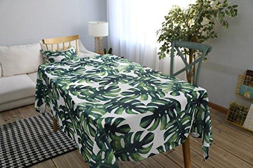 Drizzle Mantel para Mesa de Cocina o Salon Monstera Plantas Verdes Hojas de Palma Rectangular Impermeable Lavable Diseno de Comedor Decoracion del Hogar (55 * 70in/140 * 180cm)
