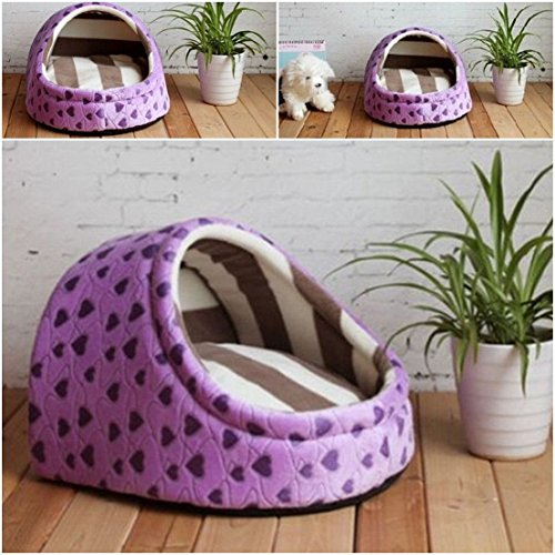 1 Pcs Howling Popular Pet Half Covered Bed Size M Warm Sofa Cozy House Sleeping Comfort Color Type Purple