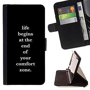BullDog Case - FOR/Sony Xperia M2 / - / comfort zone life motivational poster /- Monedero de cuero de la PU Llevar cubierta de la caja con el ID Credit Card Slots Flip funda de cuer