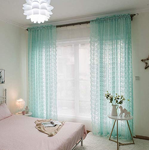 Green Single Transparent Rod - ABCWOO Countryside Sheer Voile Transparent Floral Jacquard Style Lace Home Window Curtains Panels Rod Pocket Top for Living Room(1 Panel, W 100 x L 84 inch, Green)