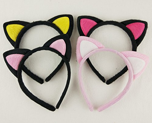 Hixixi 4pcs/pack Girls Fluffy Cat Ear Metal Headband for Fancy Dress Party (4pcs different color) (Can Can Outfit Fancy Dress)