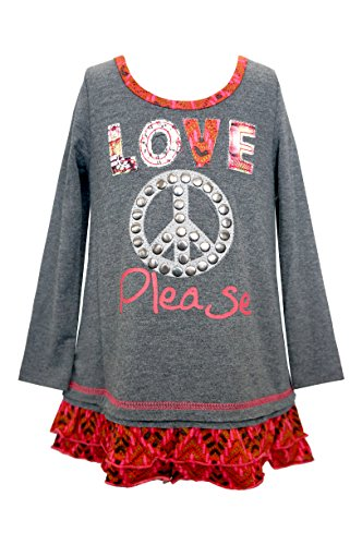 Studded Ruffle (Little Girls Patched Love Please w/ Studded Peace Sign Ruffle Hem Tunic Top, 2T-4T)