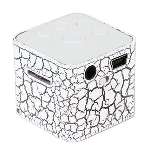 Mini Crack Style Cube USB MP3 Player, Support 32GB Micro SD TF Card (White)