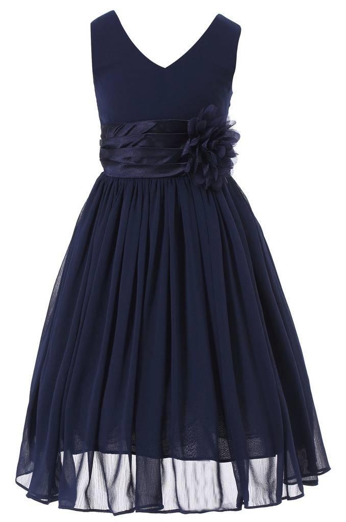 Bow Dream Flower Girl Dress Junior Bridesmaids V-Neckline Chiffon Navy Blue 4