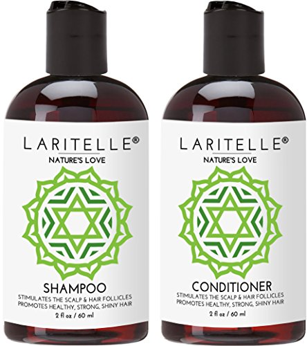 Laritelle Organic Travel Size Shampoo 2 oz + Travel Size Conditioner 2 oz | Organic Quinoa + Keratin + Follicle Stimulating Rosemary, Ginger & Grapefruit | NO GMO. Vegan