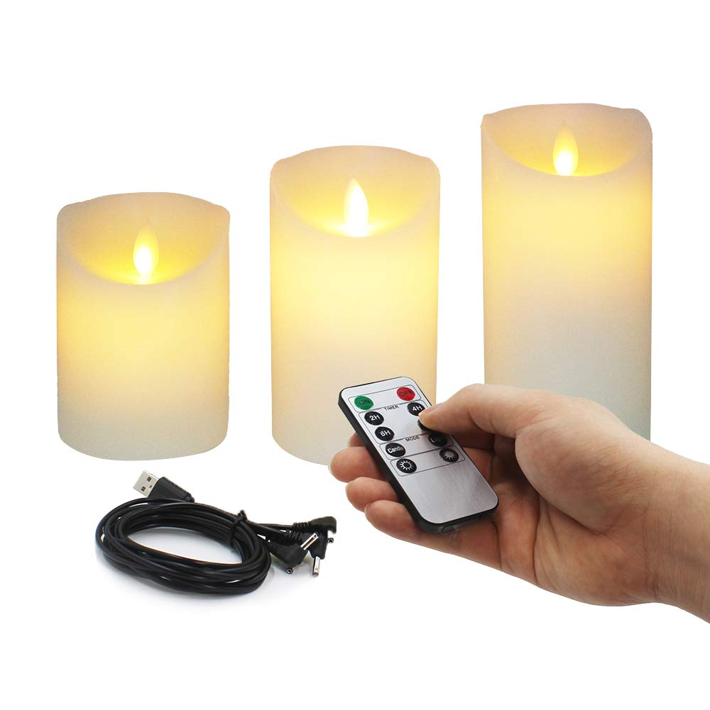 Rechargeable Simulation Candles Suitable for Romantic Scene Birthday Festival Will New Upgrade True Wax Column and Candlelight Design Long Duration Adjustable Brightness and Timing Remote Control