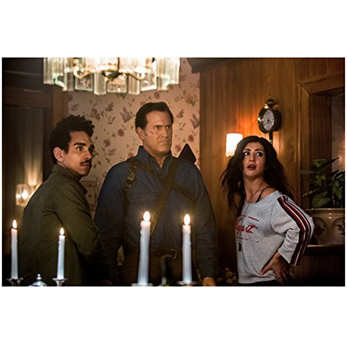 Dana Candle - Ash vs Evil Dead (TV Series 2015 - ) 8 Inch x 10 Inch Photo Bruce Campbell, Ray Santiago & Dana DeLorenzo w/White Candles in Foreground kn