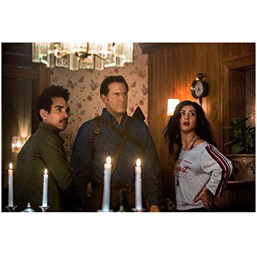 Ash vs Evil Dead Ray Santiago, Bruce Campbell, and Dana DeLorenzo in dining room 8 x 10 Inch Photo (Dining Dana)