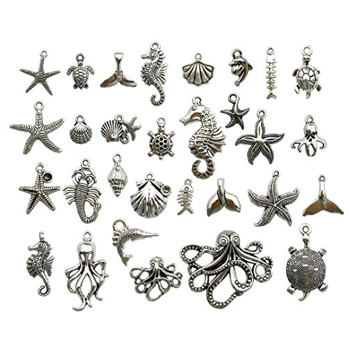 55 PCS Marine Life Charms Collection - Mixed Starfish Seashells Conch Sea Horse Octopus Mermaid Dolphin Charms Pendants (Silver HM72)]()