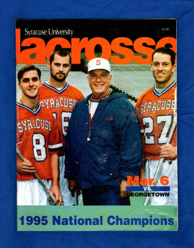Syracuse University vs. Georgetown Lacrosse Game Program, March 6, 1996. Cover: Roy Simmons II, Jim Morrissey, Rorke Denver, Kristian Photopoulos. Paul Carcaterra youthful head shot ()