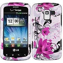 LF 3 in 1 Bundle - Purple Lily Designer Hard Case Cover Stylus Pen & Screen Wiper For LG Enlighten VS700 (Verizon), Optimus Slider LS700 Vm701 (Sprint), Optimus Q L55C (Straight Talk), Optimus Zip L75C (Purple Lily)
