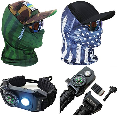 (Black Fly Tactical Gaiter Masks +Bonus 7in1 Survival Paracord Bracelet with LED Light! Camo Headwear Headband Balaclava for SWAT Military Survival Hunting Fishing, Face Protection for Adults & Kids )