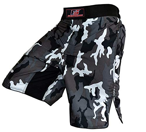 MMA Fight Kick Boxing Shorts UFC Cage Fight Grappling Muay Thai Boxing Kick Boxing Martial Art Training (Camouflage Gray, Medium) ()