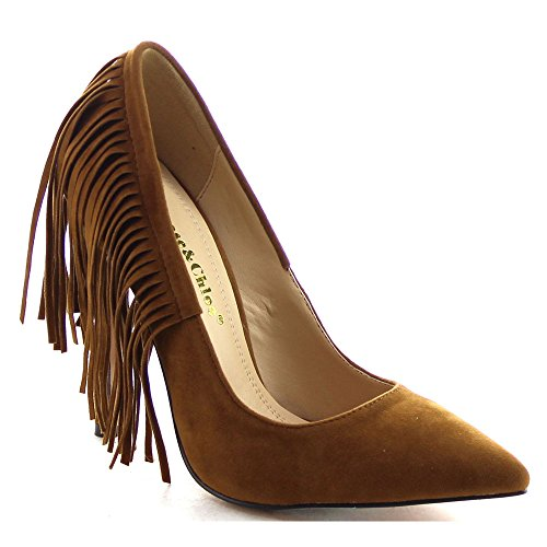 CHASE & CHLOE PLAZA-5 Womens Pointed Toe Fringe Stiletto Heel Dress Pumps, Color:TAN, Size:6