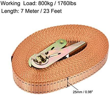uxcell ラッシングストラップ 7 M x 25mm 800kg カーゴタイダウンストラップ ラチェットバックル付き オレンジ
