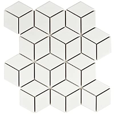 "SomerTile FMTRHOMW Retro Rhombus Porcelain Mosaic Floor & Wall Tile, 10.5"" x 12.125"", Matte White"