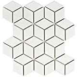 SomerTile FMTRHOMW Retro Rhombus Porcelain Mosaic Floor & Wall Tile, 10.5'' x 12.125'', Matte White
