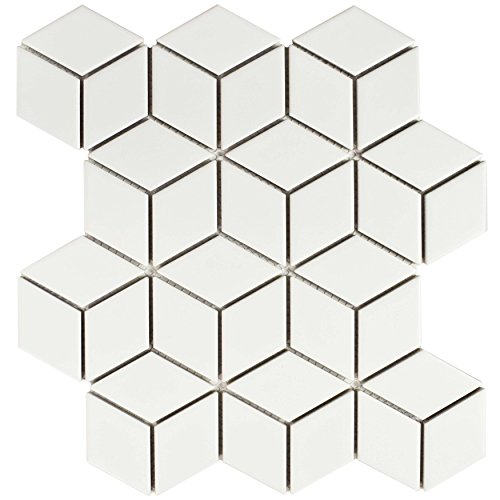 SomerTile FMTRHOMW Retro Rhombus Porcelain Mosaic Floor and Wall Tile, 10.5