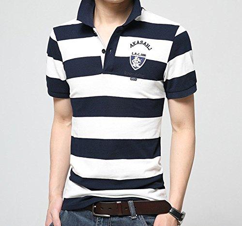 FleurUneffe(フルールアンフェ) M L XL ポロシャツ メンズ 半袖 ボーダー ゴルフウェア ネイビー おしゃれ カジュアル 男性 綿 刺繍 コットン FU-3573