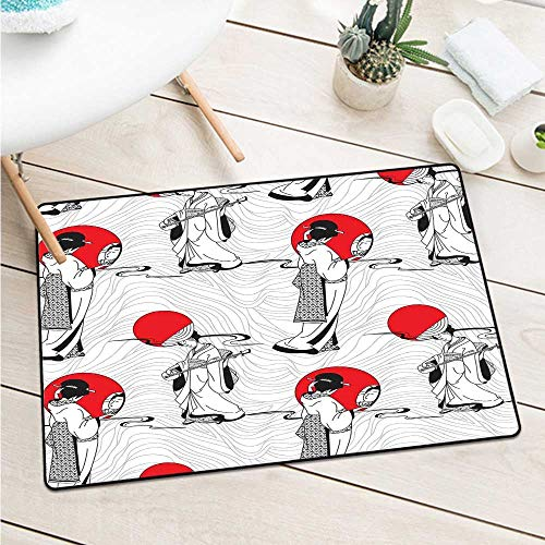 Asian Commercial Grade Entrance Mat Japanese Geisha Girl with Traditional Kimono Folk Culture Style Modern Artful Image Catch Dust Snow and Mud (W29.5 X L39.4 inch,Red Black)]()