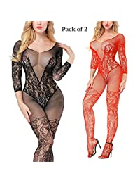 Long Sleeve Bodystockings Sexy Sheer Teddy Fishnet Lingerie Crotchless Bodysuits