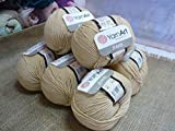 55% Cotton 45% Acrylic Yarn YarnArt Jeans Cotton Blend Thread Crochet Hand Knitting Art Lot of 8skn 400 gr 1392 yds color Beige 07