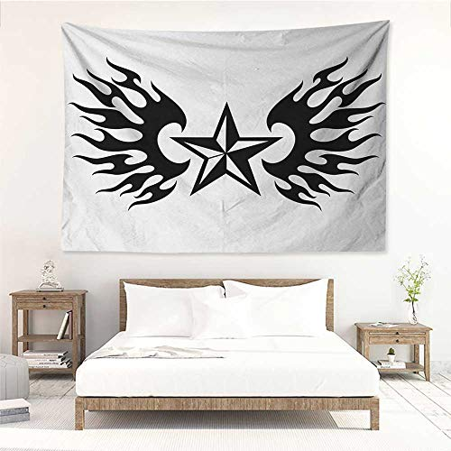alisos Texas Star,Wall Decor Tapestry United States of America Themed Star and Flames Silhouette Abstract Design 72W x 54L Inch Tapestry Wallpaper Home Decor Black and White ()