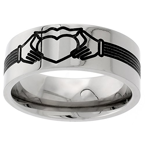 Titanium Wedding Claddagh Comfort sizes