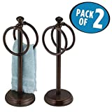 Best MetroDecor Bathroom Vanities - mDesign Double Sided Towel Holder Stand for Bathroom Review