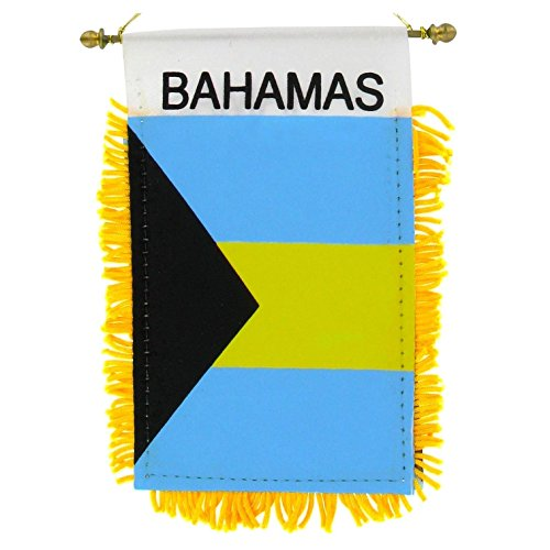 BUNFIREs BAHAMAS Small 4 X 6 Inch Mini Flag Banner Rearview Mirror BAHAMIAN flag Fringed Window Hanging