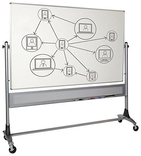 Best-Rite 669RG-HH Platinum Mobile Reversible Whiteboard Easel, 4 x 6 Feet Panel Size, Dura-Rite HPL Markerboard - Rite Combination Marker Best