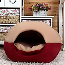 FFMODE Cozy Pet Dog Cat Cave Mongolian Yurt Shaped House Bed with Removable Cushion inside, 50X40X44cm, Khaki&Red