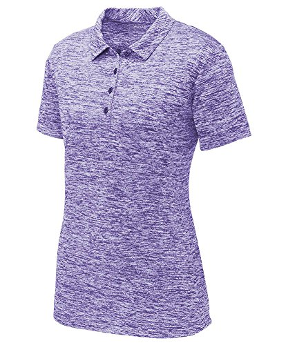 DRIEQUIP Ladies PosiCharge Electric Heather Polo-M-PurpleElectric