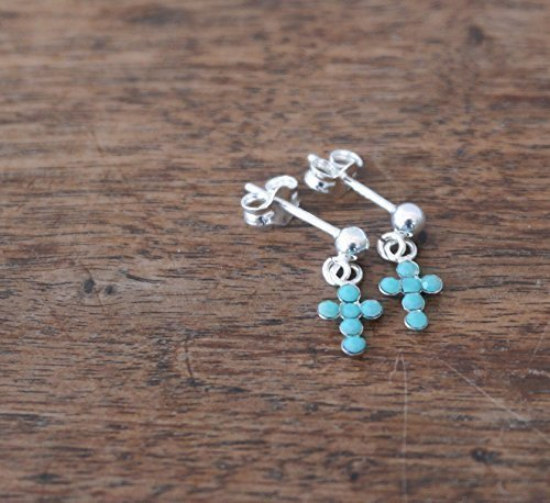 Small Sterling Silver Cross earrings featuring opaque turquoise Swarovski crystals (Turquoise Cross Ring)