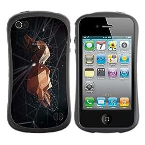 Suave TPU Caso Carcasa de Caucho Funda para Apple Iphone 4 / 4S / Rock Space Black Minimalist Abstract / STRONG