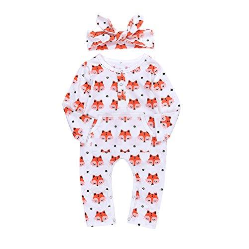 AILOM Newborn Baby Boys Girls Cute Fox Romper Jumpsuit Pajamas With Kangaroo Pocket +Headband (White, Tag80(6-12M))