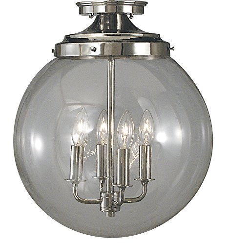 Framburg 1058 PS 4-Light Moderne Flush/Semi-Flush Mount, Polished Silver ()