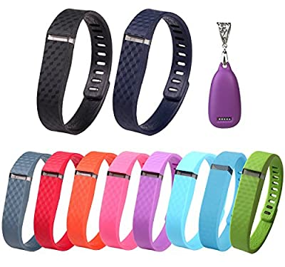 Greeninsync Fashion Pendant(1pics) + Replacement 3D Edition Bands(Small 10pics) For Fitbit Flex Wireless Activity Bracelet Sport Wristband