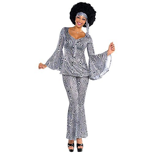 S Ladies Womens Dancing Queen Costume for 70s Disco Fancy Dress Outfit by (Disco 70s Outfits)