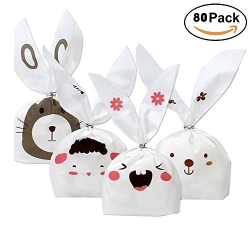 - Bunny Candy Bags, Pyhot 80pcs Cute Rabbit Ear Cookies Bags Easter Gift Wrap Bags Dessert Treat Bags for Kids Birthday Party Favors Supplies Wedding Favors( 8.7