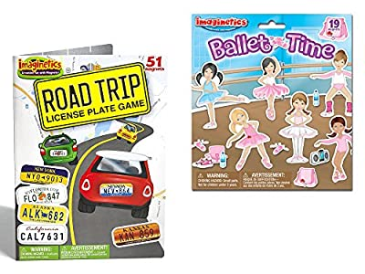 Set of 51 Imaginetics Road Trip License Plate Game and Set of 19 Imaginetics Ballet Time Play Set bundled by Maven Gifts