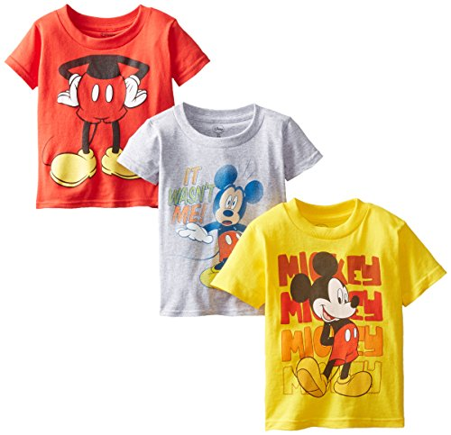 Disney Little Boys' Toddler Mickey Mouse 3-Pack T-Shirts, Assorted, 5T