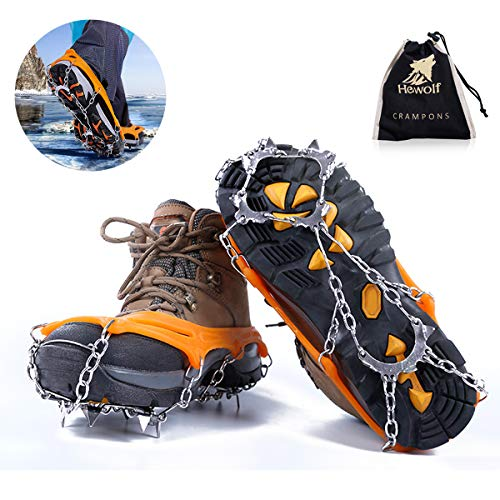 PUZ Life Crampons for Hiking Anti Slip Snow Grips Ice Fishing Shoveling Microspikes Stainless Steel Ice Cleats Winter Hiking Gear PZ-BZ-M