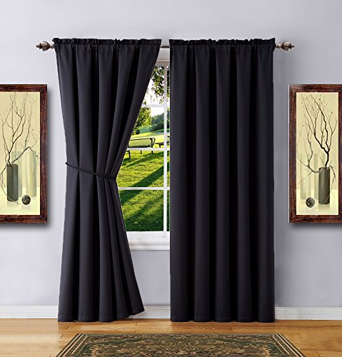 Warm Home Designs 1 Pair of 2 Short Size 54″ x 63″ Black Room Darkening Curtains with 2 Free Matching Tie-Backs. Total Width 108″. Save by Buying Blackout Pairs Instead of Single Panels. E Black 63 For Sale