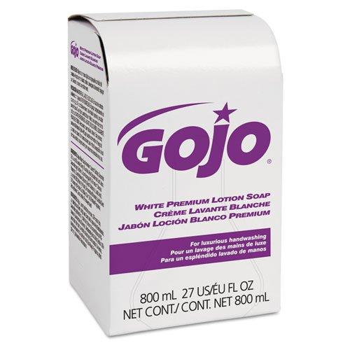 GOJO White Premium Lotion Soap, Spring Rain Scent, 800 ml Refill - Includes twelve 800 ml refills per case.