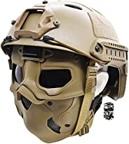 Tactical Airsoft Helmet Sets, with Anti-Fog Skull Mask and NVG Moust, for Paintball Hunting Outdoor Shooting C