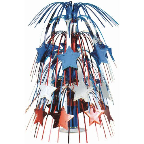 Large Patriotic Star Foil Cascade Centerpiece 4th of July Party Table Decoration, (Fourth Of July Centerpieces)