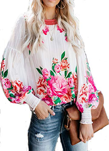 Long Sleeve Chiffon Blouse Women's Loose Cuffed Sleeve Layered Tops (L, red)